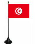 Tunisia Desk / Table Flag with plastic stand and base.